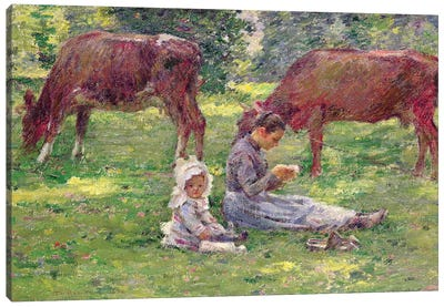 Watching the Cows  Canvas Art Print