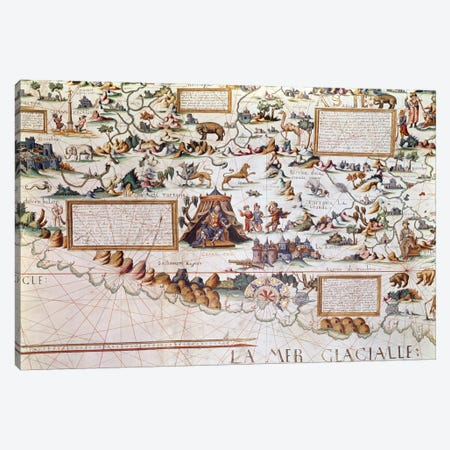 Siberia, the names appearing inverted to allow them to be read inwards from the border towards the Equator, detail from a World Map by Pierre Descaliers, 1550  Canvas Print #BMN1101} by French School Canvas Print