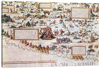 Siberia, the names appearing inverted to allow them to be read inwards from the border towards the Equator, detail from a World Map by Pierre Descaliers, 1550  Canvas Print #BMN1101