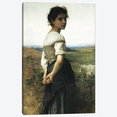 The Young Shepherdess, 1885  Canvas Print #BMN11030} by William-Adolphe Bouguereau Canvas Print