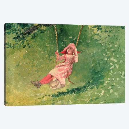 Girl on a Swing  Canvas Print #BMN11045} by Winslow Homer Canvas Art Print