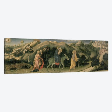 Adoration of the Magi Altarpiece; central predella panel depicting The Flight into Egypt, 1423  Canvas Print #BMN1104} by Gentile da Fabriano Canvas Artwork