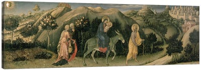 Adoration of the Magi Altarpiece; central predella panel depicting The Flight into Egypt, 1423 Canvas Art Print