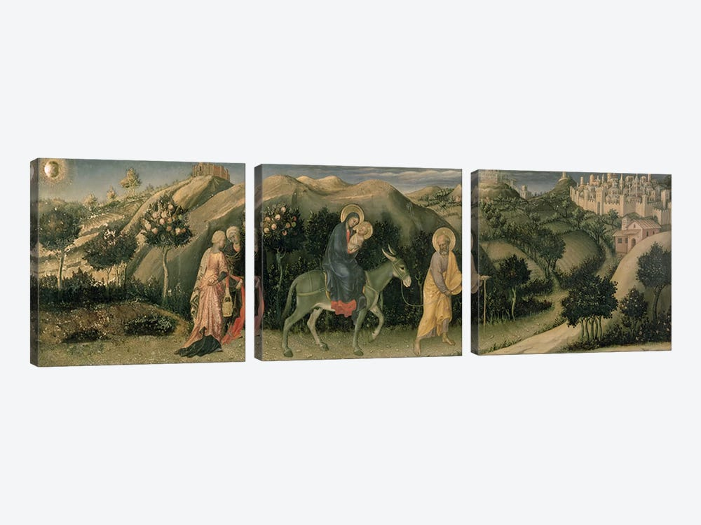 Adoration of the Magi Altarpiece; central predella panel depicting The Flight into Egypt, 1423 by Gentile da Fabriano 3-piece Canvas Artwork