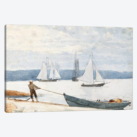 Pulling the Dory, 1880  Canvas Print #BMN11050} by Winslow Homer Art Print
