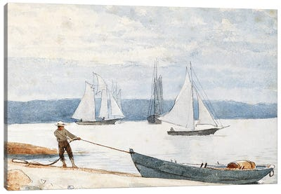 Pulling the Dory, 1880  Canvas Art Print