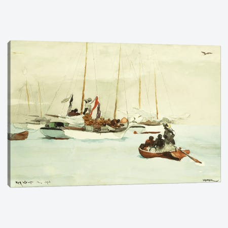 Schooners at Anchor, Key West, 1903  Canvas Print #BMN11055} by Winslow Homer Canvas Artwork