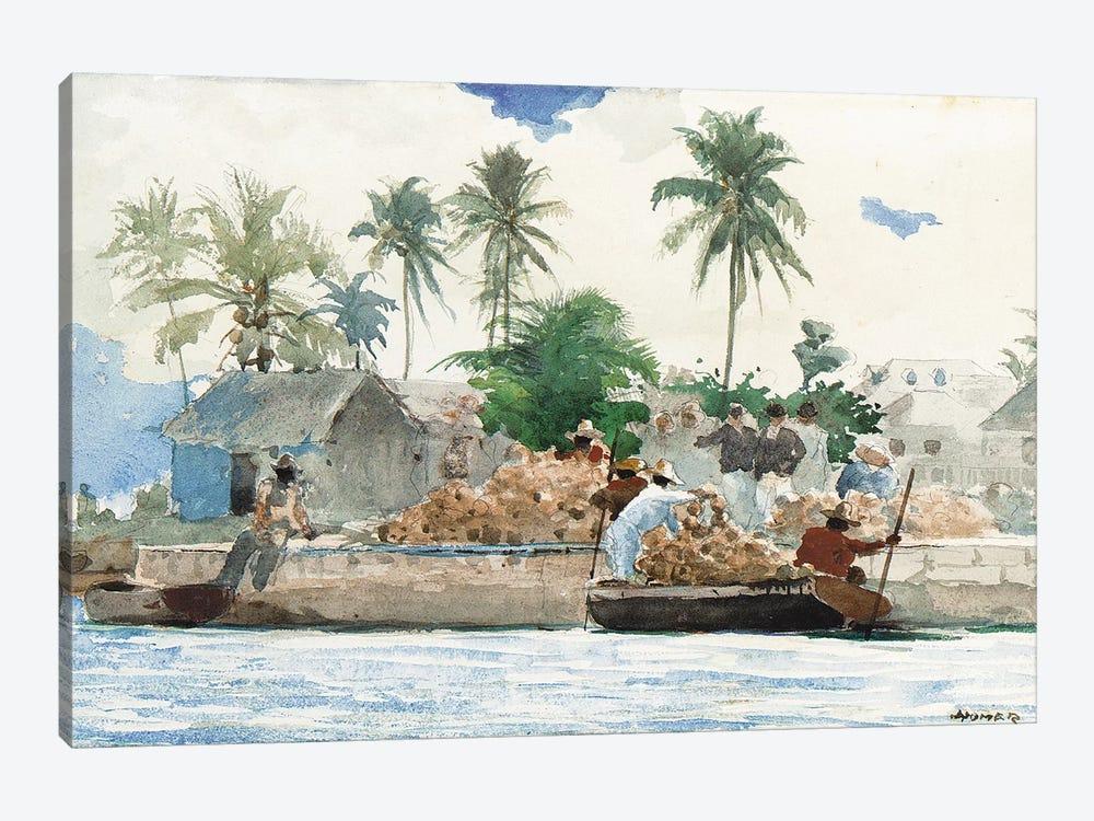 Sponge Fisherman, Bahamas  by Winslow Homer 1-piece Canvas Art Print