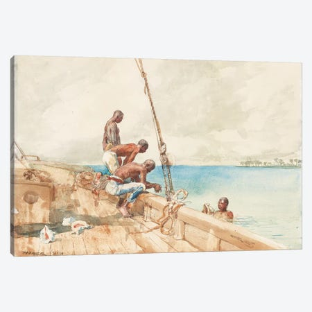 The Conch Divers, 1885  Canvas Print #BMN11063} by Winslow Homer Canvas Art