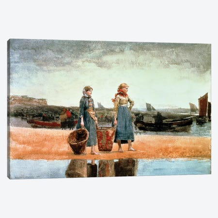 Two Girls on the Beach, Tynemouth, 1891  Canvas Print #BMN11067} by Winslow Homer Canvas Art Print