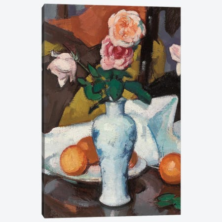 Roses In A Vase With Oranges And A White Tablecloth Canvas Print #BMN11077} by Samuel John Peploe Canvas Artwork