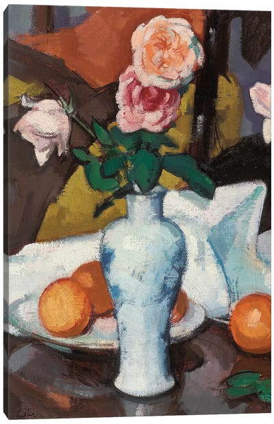 Roses In A Vase With Oranges And A White Tablecloth Canvas Art Print