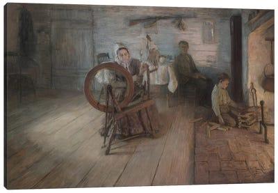 Spinning By Firelight–The Boyhood Of George Washington Gray, 1894 Canvas Art Print