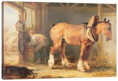 A Groom With Carthorse In A Stable Canvas Art Print