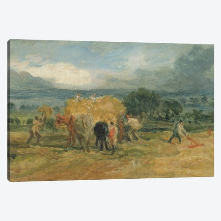 A Harvest Scene With Workers Loading Hay On To A Farm Wagon Canvas Print #BMN11101} by James Ward Art Print