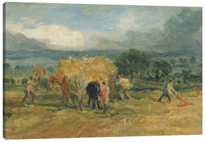 A Harvest Scene With Workers Loading Hay On To A Farm Wagon Canvas Art Print