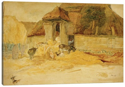 Animals Before A Thatched Barn Canvas Art Print