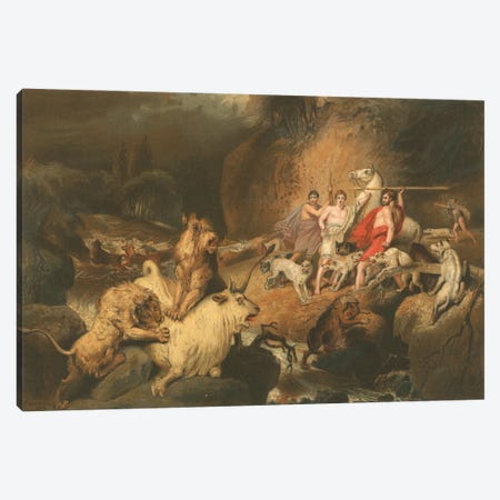 Buffalo Hunters Surprised By Lions Canvas Print #BMN11110} by James Ward Canvas Art