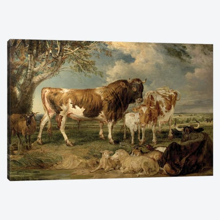 Bull, Cow And Calf In A Landscape, 1837 Canvas Print #BMN11111} by James Ward Canvas Wall Art