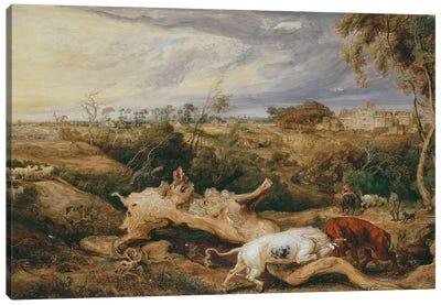 Bulls Fighting; St. Donat's Castle In The Distance, C.1803 Canvas Art Print