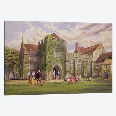 Elizabethan Children Playing Football Canvas Print #BMN11119} by James Ward Canvas Art