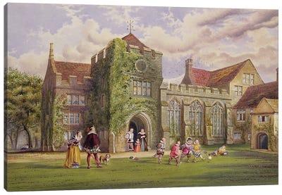 Elizabethan Children Playing Football Canvas Art Print