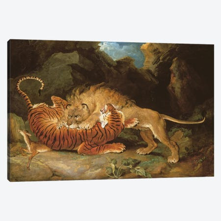 Fight Between A Lion And A Tiger, 1797 Canvas Print #BMN11123} by James Ward Canvas Print