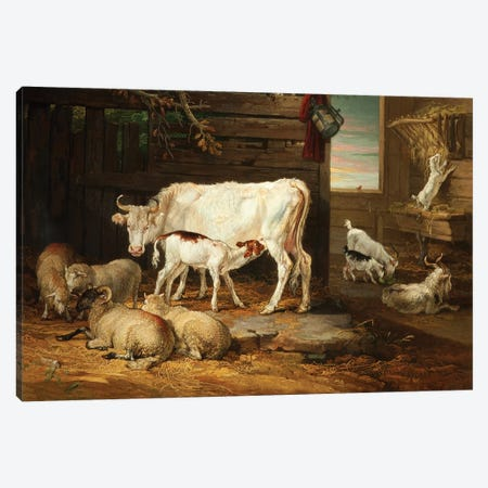 Interior Of A Stable, 1810 Canvas Print #BMN11128} by James Ward Canvas Art Print