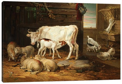 Interior Of A Stable, 1810 Canvas Art Print