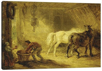 Interior Of A Stable, C.1830-40 Canvas Art Print