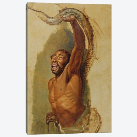 Man Struggling With A Boa Constrictor, Study For 'Liboya Serpent Seizing Its Prey', C.1803 Canvas Print #BMN11135} by James Ward Canvas Print