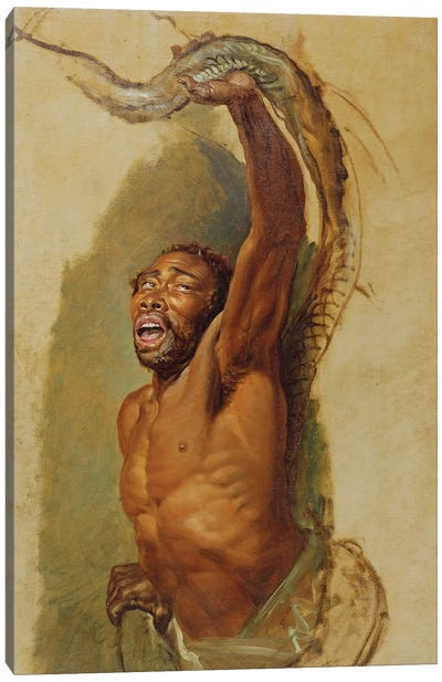 Man Struggling With A Boa Constrictor, Study For 'Liboya Serpent Seizing Its Prey', C.1803 Canvas Art Print