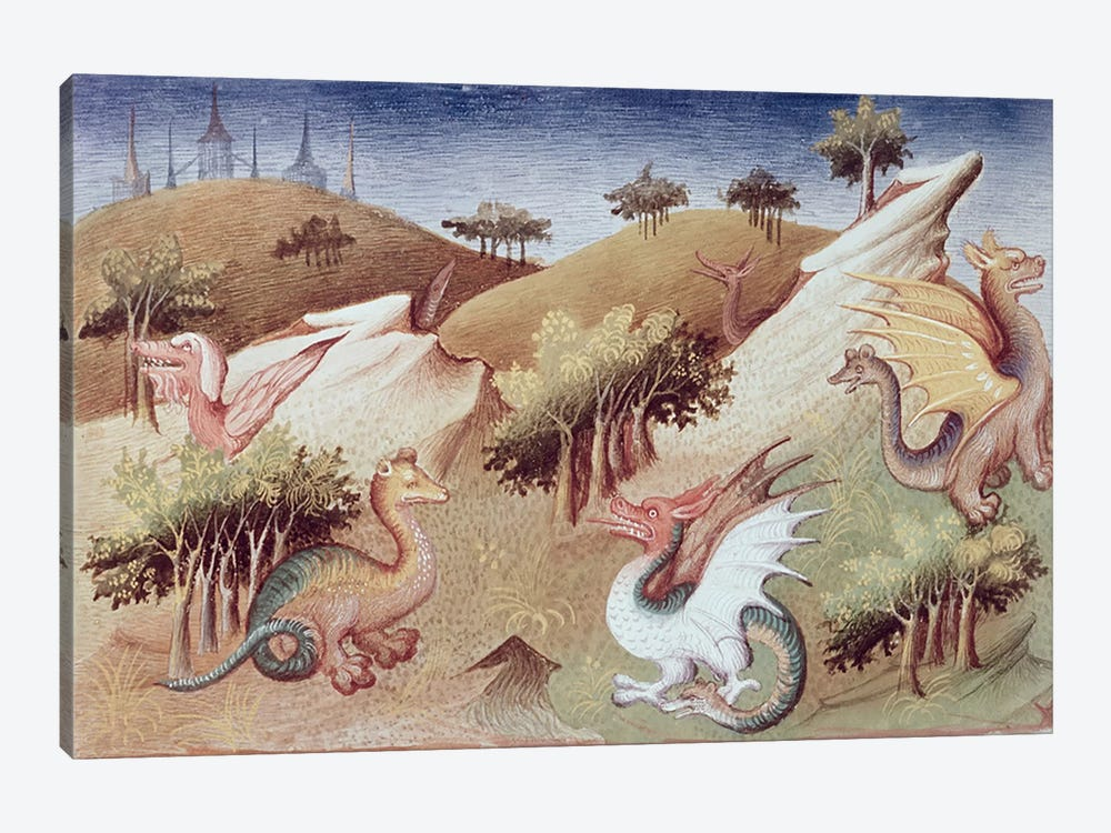 Ms Fr 2810 f.55v Dragons and other beasts  by Boucicaut Master 1-piece Canvas Art