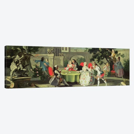 An ornamental garden with elegant figures seated around a card table  Canvas Print #BMN1114} by Filippo Falciatore Canvas Print