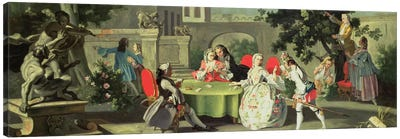 An ornamental garden with elegant figures seated around a card table  Canvas Art Print