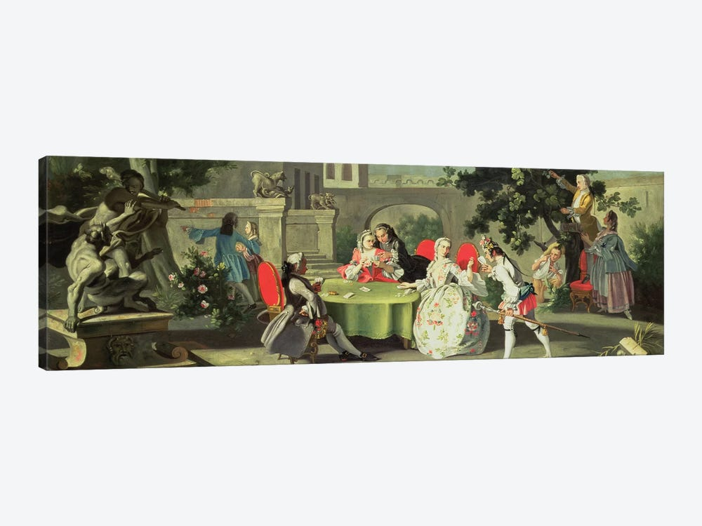 An ornamental garden with elegant figures seated around a card table  by Filippo Falciatore 1-piece Canvas Art Print