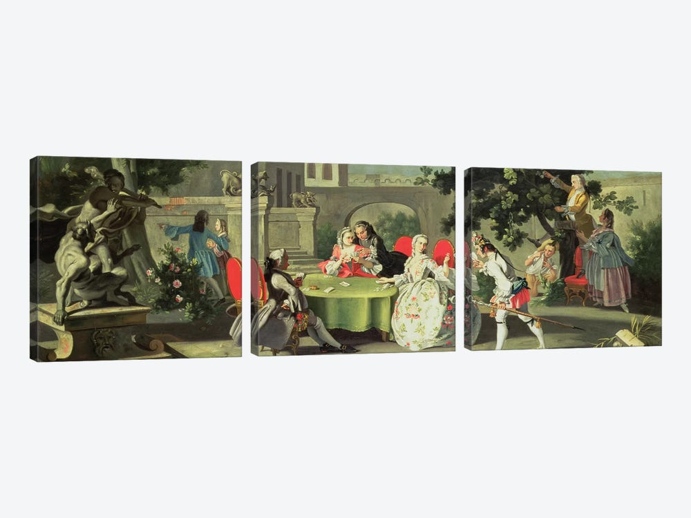An ornamental garden with elegant figures seated around a card table  by Filippo Falciatore 3-piece Art Print