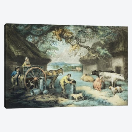 The Dairy Farm, Engraved By The Artist, Pub. By R. Ackermann, 1801 Canvas Print #BMN11159} by James Ward Canvas Art
