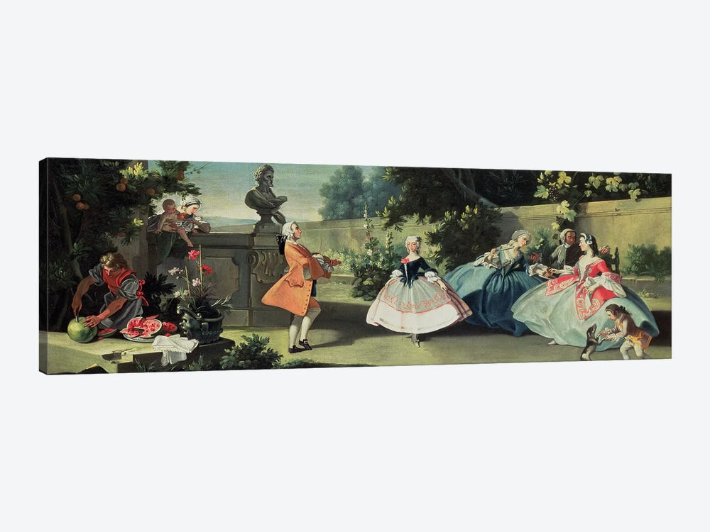 An ornamental garden with a young girl dancing to a fiddle  by Filippo Falciatore 1-piece Canvas Artwork