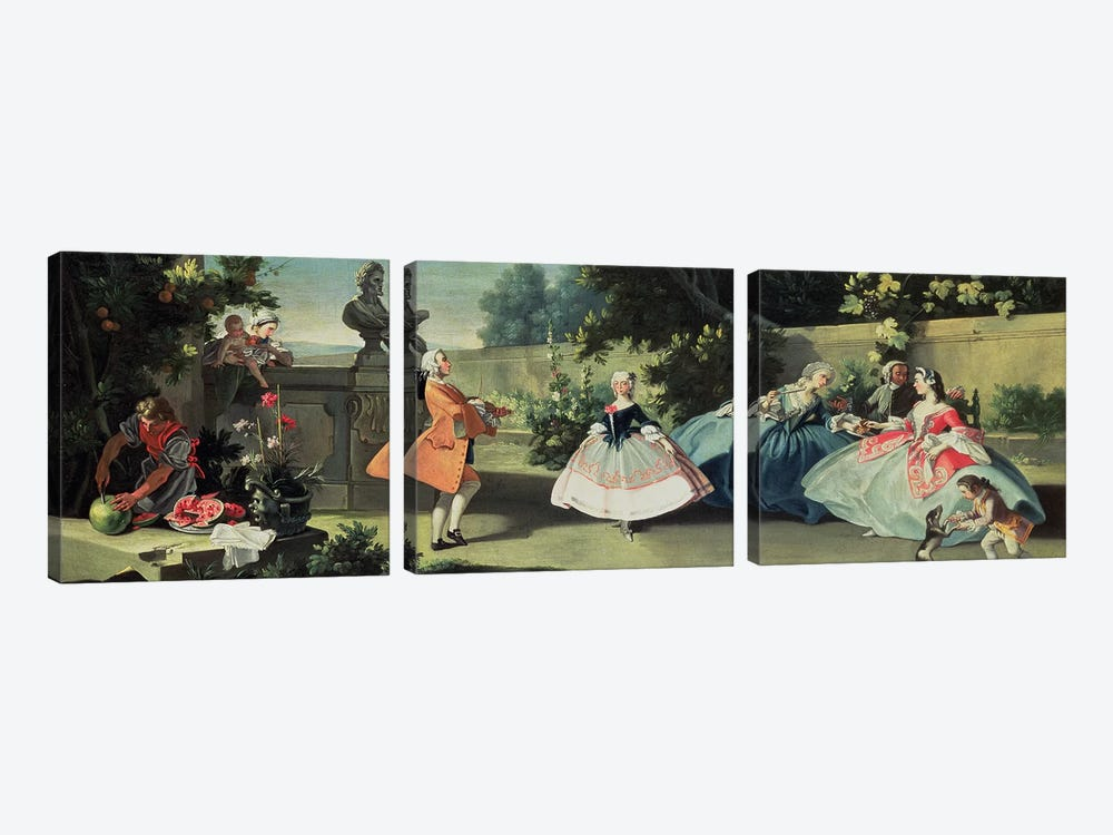 An ornamental garden with a young girl dancing to a fiddle  by Filippo Falciatore 3-piece Canvas Art