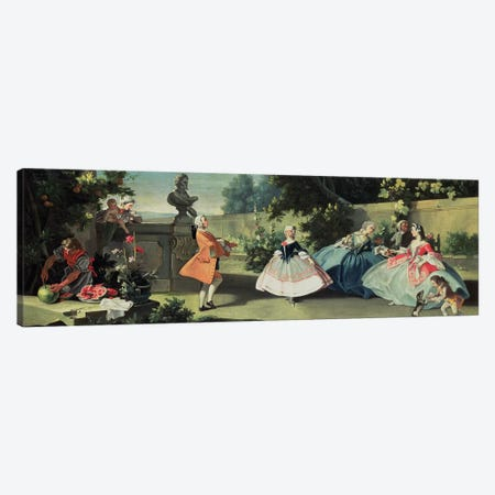 An ornamental garden with a young girl dancing to a fiddle  Canvas Print #BMN1115} by Filippo Falciatore Canvas Art Print