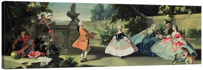 An ornamental garden with a young girl dancing to a fiddle  Canvas Art Print
