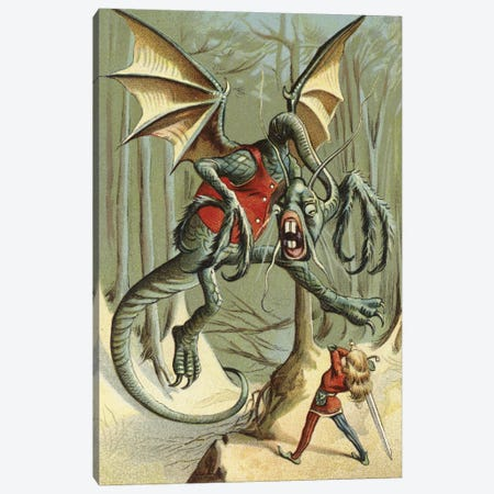 Beware The Jabberwock, My Son (Illustration From Carroll's Through The Looking-Glass, And What Alice Found There) Canvas Print #BMN11187} by American School Canvas Artwork