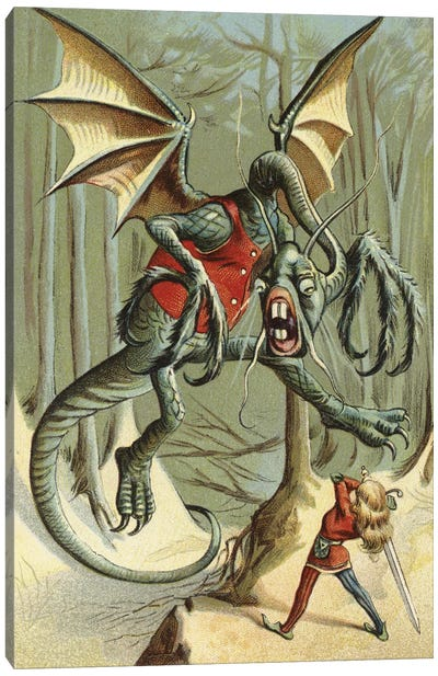 Beware The Jabberwock, My Son (Illustration From Carroll's Through The Looking-Glass, And What Alice Found There) Canvas Art Print
