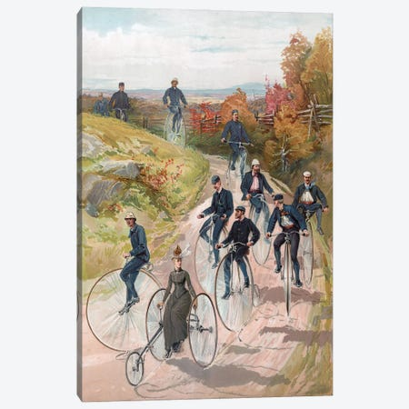 Bicycling: Woman On Tricycle Followed By Men On Penny-Farthings, 1887 Canvas Print #BMN11188} by American School Canvas Print