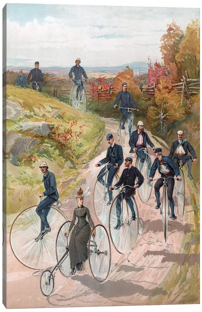 Bicycling: Woman On Tricycle Followed By Men On Penny-Farthings, 1887 Canvas Art Print