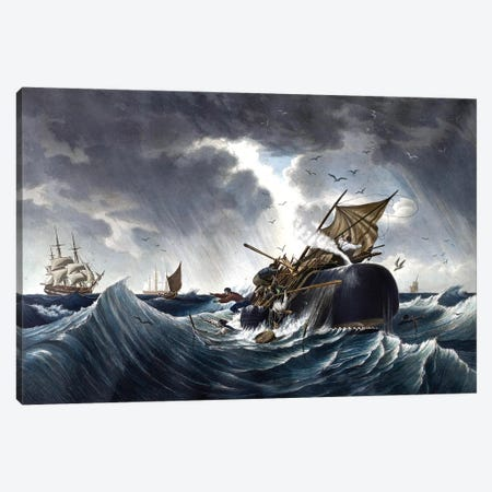 Whale Destroying Whaling Ship, c.1875 Canvas Print #BMN11199} by American School Canvas Art
