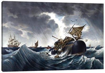 Whale Destroying Whaling Ship, c.1875 Canvas Art Print