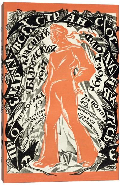 'Petrograd Red 7th November', Revolutionary poster depicting a Russian sailor, 1919  Canvas Print #BMN1119