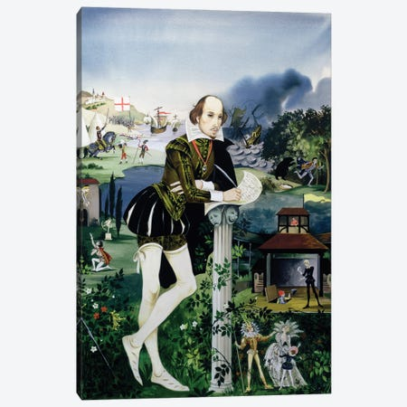 """Cover Illustration From """"Finding Out, Shakespeare's World"""" Canvas Print #BMN11203} by Anne & Janet Johnstone Canvas Wall Art"""